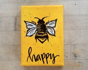 Bee Happy Yellow Painting 5x7