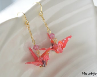 Origami Crane Earrings - Red Pink