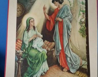 Impressive Mary and Gabriel religous school chart print! 1950s Sunday school Bible Church Religion-Glossy