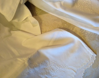 Embroidered bolster cover.. 18x55 inches. Good condition. 1920's. vintage