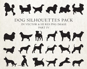 Dog Silhouette Clipart, Dog Breed Silhouette, Dog Clip Art, Dog Clipart Vector EPS AI & PNG Design Elements Digital Instant Download