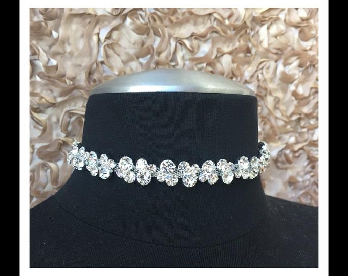 Silver Crystal Choker #C107