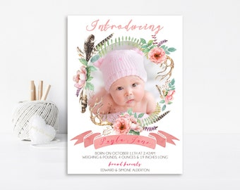 Shabby Chic Birth Announcement - Printable Birth Announcement - Baby Girl Birth Announcement - Vintage Announcement - BA16