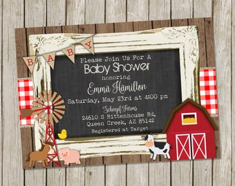 Farm Baby Shower Invitation – Country Baby Shower- Farm animals - printable 5x7