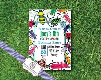 Creepy Crawly, Crawlie, Bug, Birthday Party, Invitation, watercolor, bugs