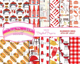BBQ Barbecue Scrapbook Digital Papers ~ Printable ~ dad father ~ 4th of July ~ Burger ~ Hot dog~ Grill ~ Food ~ Picnic ~ Party ~ Cooking