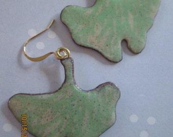 ginko leaf copper enameling earrings