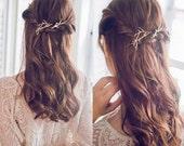 Gold Leaf Hair Pin, Gold Leaves Hair Clip, Twig Hair Pin, Wedding Hair piece, Bridal Hair Pins,Bobby Pin,Boho Hair Accessories