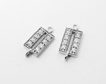 P0401/Anti-tarnished Rhodium Plating Over Brass/Cubic Zirconia Square Connector/6x13mm/2pcs