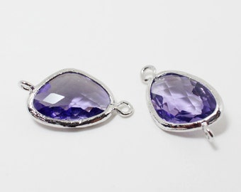 G002504/Tanzanite/Rhodium plated over brass/Triangle faceted glass Connector/21x11mm/2pcs