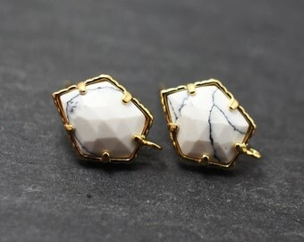 E0029/Anti-Tarnished Gold Plating Over Brass+Sterling silver post /Genuine White Marble Pentagonal earrings/16x10mm/2pcs