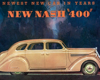 New Nash 400 Vintage Auto Art Print ready for framing, puzzle