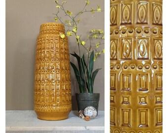 Vintage German Floor Vase / Large Flower Vase / Boho Vase / Pottery Vase / Glass Vase / Ceramic Vase / Gold Vase / Flower Vase