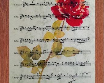 Le Vie en Rose, Printable Wall Art, Music, Digital Art, Rose, Inspirational, Motivational,  Instant Digital Download,