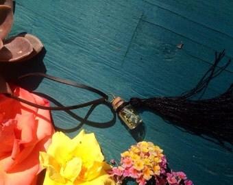 Rue herb bottle tassel necklace