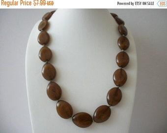 ON SALE Vintage Amber Brown Shades Flat Plastic Beads Necklace 8916