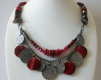 ON SALE Vintage 1960s Red Black Gray Gypsy Fortune Teller Plastic Faceted Metal Necklace 91916