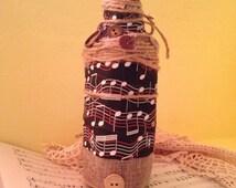 Music Lover's Decorative Bottle; Music Teacher; Music Decor; Burlap and Buttons; Upcycled Bottle; Musical Notes; Teacher's Gift