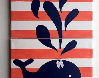 Girls nautical whale wall art