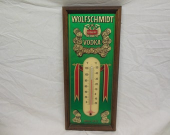 Beautiful Wolfschmidt Genuine Vodka Advertising Thermometer - Man Cave Bar Tavern Vintage Wall Decor