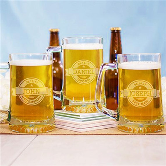 Personalized Beer Mugs Wedding Gift : Beer GlassesMugsWedding Party GiftsCustom Engraved Beer ...
