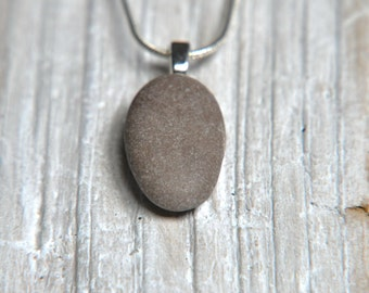 Zen necklace, Beach pebble pendant, Mediterranean pebble from south of France, Eco-friendly necklace, Natural jewelry, Beach finds