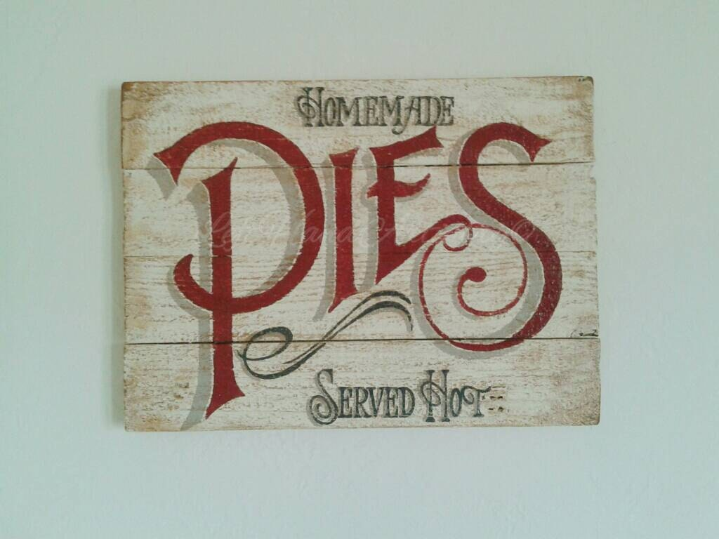 Vintage Victorian Homemade Pies sign Free handed Antique