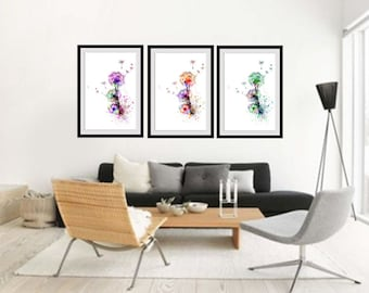 wall art ideas for living room. Dandelion watercolor print set of 3 poster Set  posters Home Living room wall art Etsy