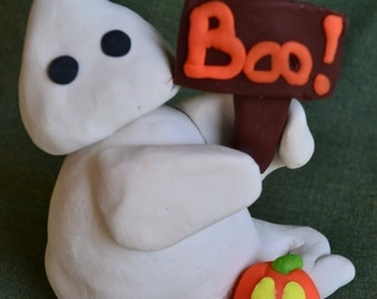 Clay Ghost with Boo! Sign