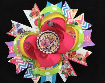 shopkins hair bow-large shopkins hair bow-over the top shopkins hair bow-boutique grosgrain shopkins bows-shopkins party favor-shopkins