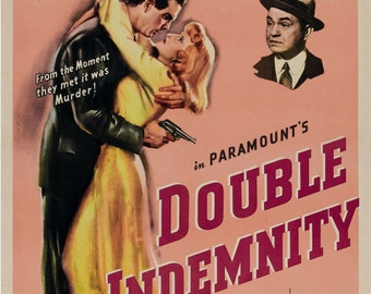 DOUBLE INDEMNITY Movie Poster 1944 Hollywood Classic