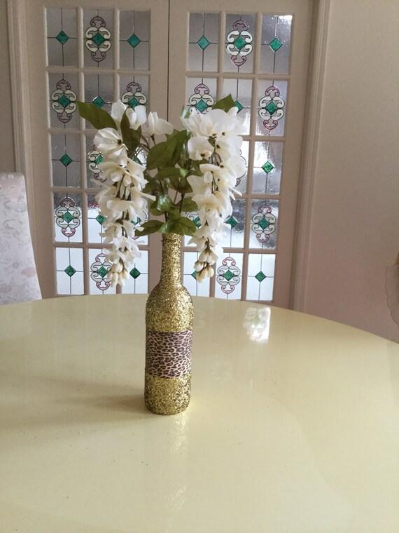 1 Gold Glitter Leopard Design Mix Wine Bottle Decorative Centerpiece
