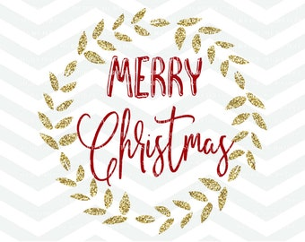 Merry Christmas SVG File, Christmas Cutting File, Merry Christmas, Holidays Cut File, Winter, Quote Overlay, Cricut, Silhouette, PNG, DXF