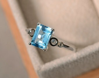 Swiss blue topaz ring, solitaire  ring, blue gemstone silver ring, promise ring