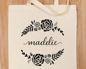 Personalized Tote Bag – Custom Calligraphy and Floral Design – Bridesmaid – Bridal Party – Birthday Gift – Teacher Gift  – Mother's Day