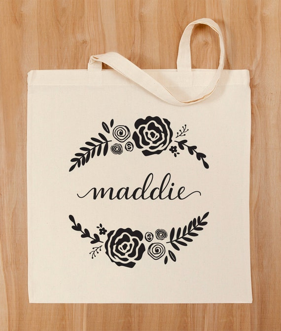 Personalized Tote Bag Custom Calligraphy And Floral Design