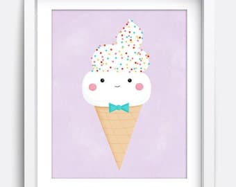 Ice Cream, Art Prints, Printable Wall Art, Kids Wall Art, Home Decor, Wall Art, Art Prints, Summer Art, Summer Prints, Icecream Prints, Art