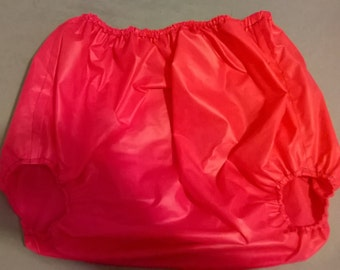 Adult baby hot pink PU forward facing legs pants/nappy covers