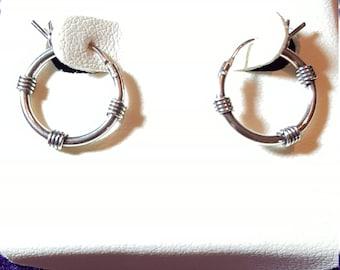 Small Sterling silver Hoop Earrings .925 Signed HAN