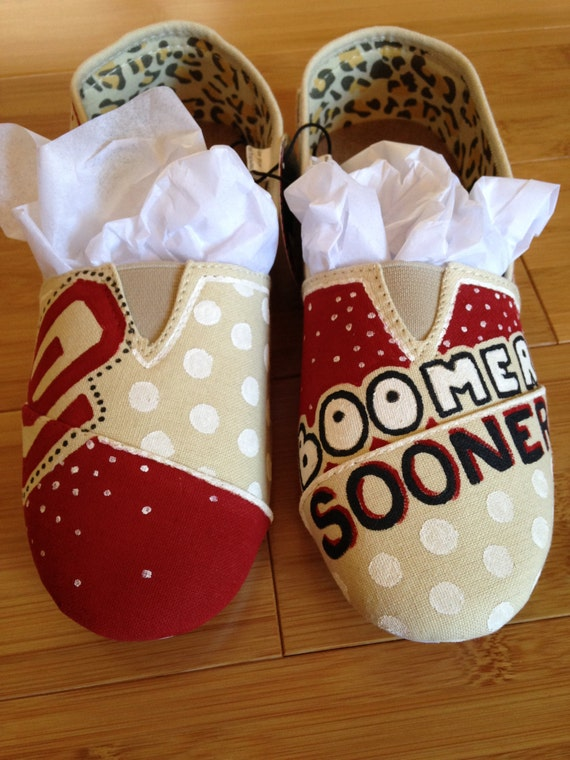 oklahoma sooners custom canvas shoes by bellalaceboutique