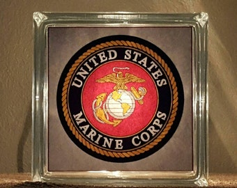 Lighted Marines Glass Block -  All Branches Available
