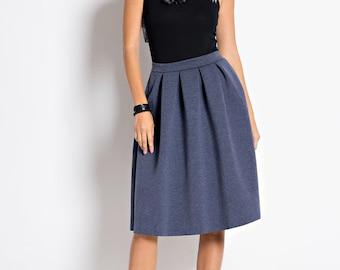 S5123 Denim blue Pleated balloon Skirt