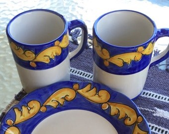 pottery set, Solimene Vietri, ceramic plate and mug set, blue, gold, white, 2 plates, 2 mugs, made in Italy
