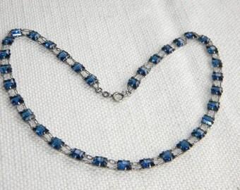 NOVOPLATIN signed Art Deco necklace CRYSTAL open back beads dark blue - inA1534