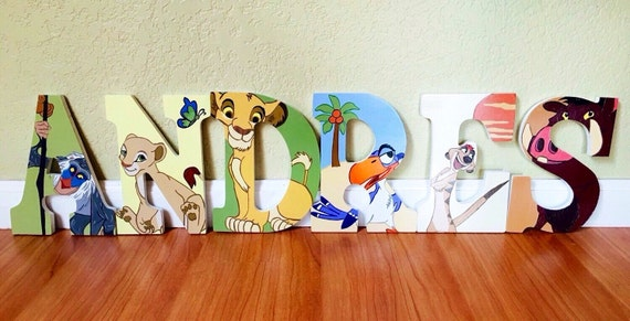 Items Similar To Lion King Letter Art. Hand Painted Wood