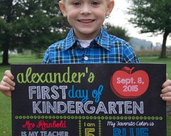 First Day of Kindergarten Back to School Printable Boy Chalkboard Sign