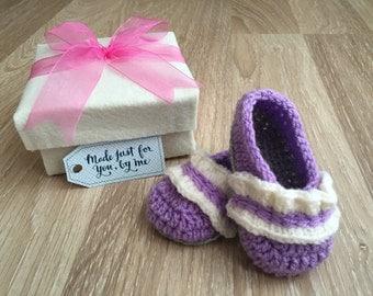 Crochet Baby Girl Ruffle Ballet Flats, Baby Shower Gift, Baby Booties in a Box