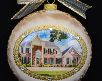 New Home Ornament, Personalized Christmas Ornament,Photo Ornament,Real Estate Closing gifts,Housewarming Gifts,Custom Christmas Ornaments