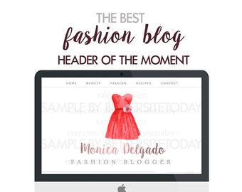 Fashion Blog Header - Fashion blog design - Fashion header - Feminine header - Watercolor dress - Watercolor header - Fashion blog theme