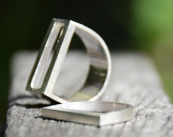 Sterling Silver Rectangular and square flat bar ring